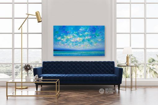 Fine Art Painting of Colourful Ocean Sea and Sunset Sky by Canadian Contemporary Landscape Artist Melissa McKinnon Art displayed in modern living room Untamed Sky