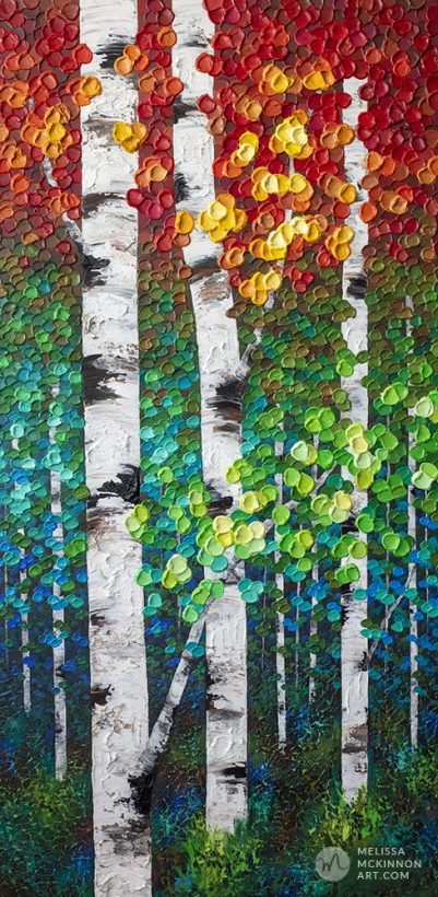 Fine art painting of aspen trees and birch trees in autumn forest by Canadian abstract landscape artist painter Melissa McKinnon