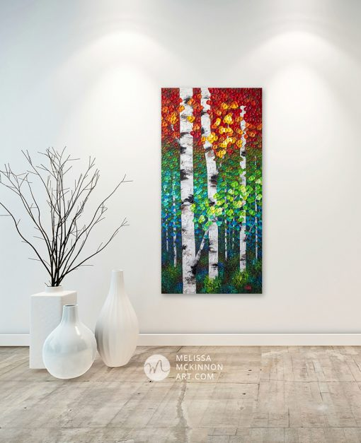 Fine art painting of aspen trees and birch trees in autumn forest by Canadian abstract landscape artist painter Melissa McKinnon displayed in a white modern home.