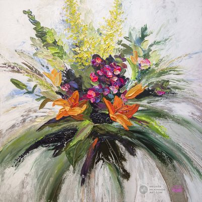 Original textured floral painting of colorful pink and orange lily flowers by abstract artist Melissa McKinnon painted with palette knife and thick impasto texture.